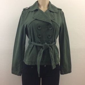 Forever 21 Jacket M  Button Up Army Green Belted